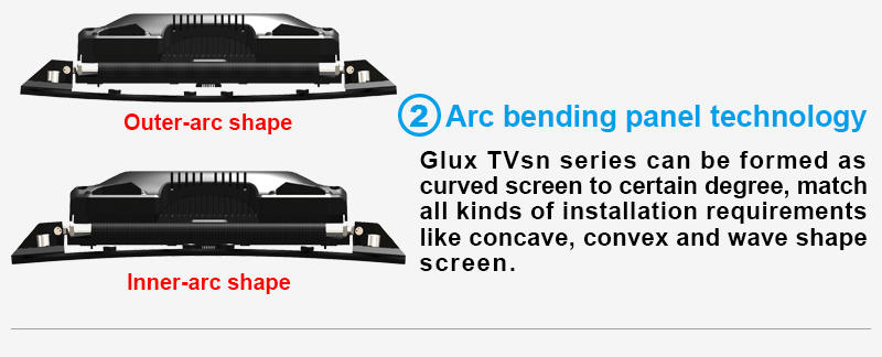 Glux TVsn p1.5mm indoor LED display screen--arc bending panel technology