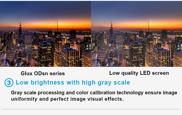 Glux LED ODsn series--low brightness with high gray scale
