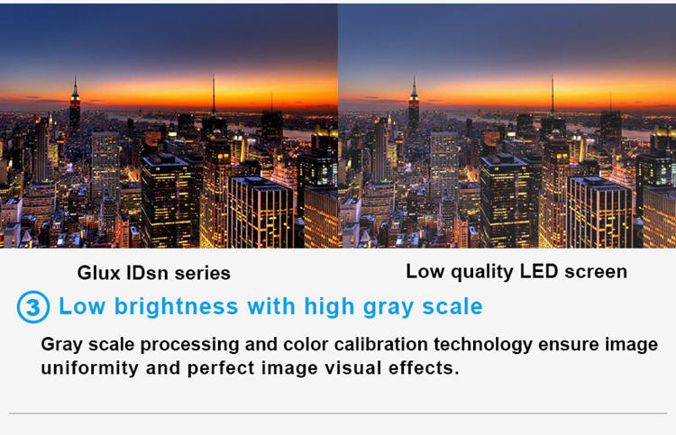 Glux LED IDsn series full color LED screen--low brightness, high gray scale