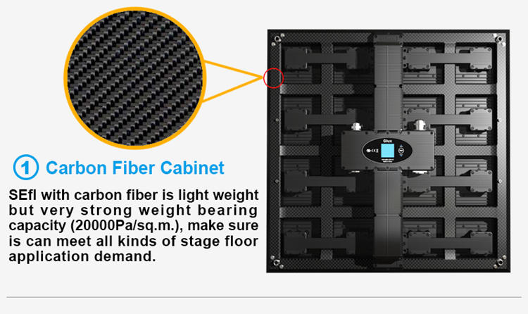 Glux LED SEfl outdoor stage floor screen--carbon fiber cabinet