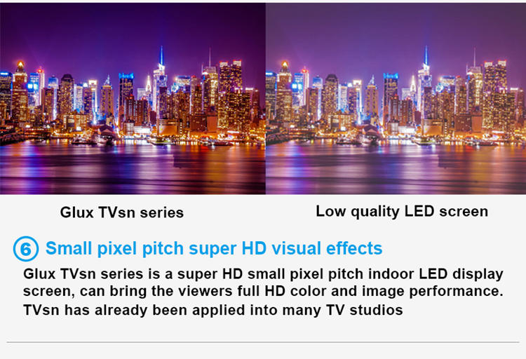 Glux LED TVsn series--small pixel pitch HD visual effects