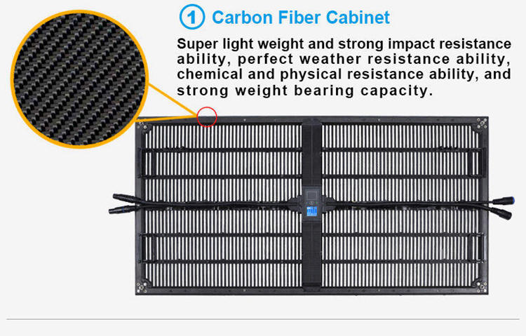 Glux BAtn transparent LED display screen--carbon fiber cabinet