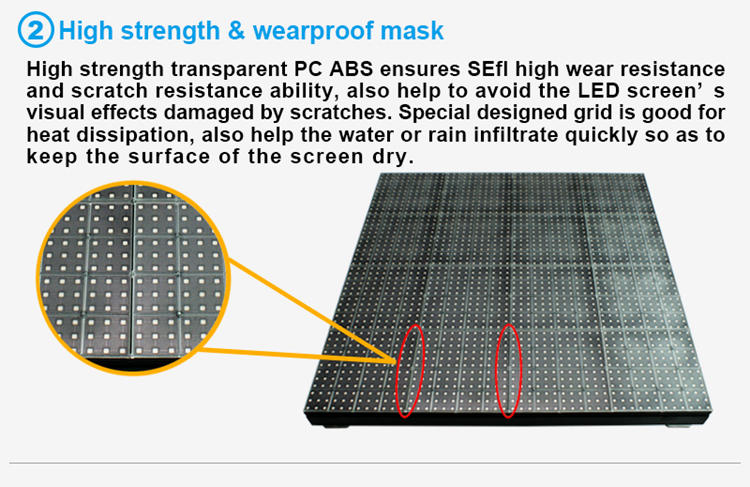Glux SEfl series stage floor screen rental--high strength and waterproof mask