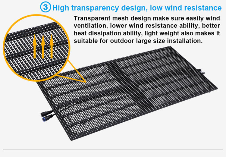Glux LED P10 LED display screen--high transparency, low wind resistance