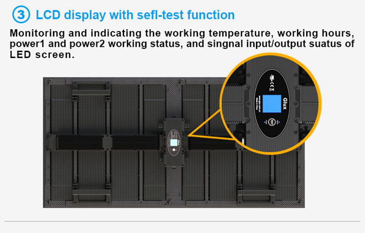 Glux rental LED display--LCD display with self-test function