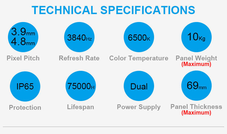 Glux CFOsn series rental LED display screen technical specifications